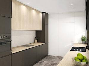 Dom w Dąbrowie Górniczej - Średnia zamknięta wąska biała czarna kuchnia dwurzędowa z oknem, styl nowoczesny - zdjęcie od Inside Outside Design