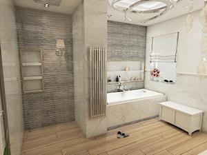 Warszawski sen.. - Duża biała szara łazienka jako salon kąpielowy z oknem, styl klasyczny - zdjęcie od Inside Outside Design