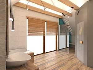 Warszawski sen.. - Duża biała szara łazienka na poddaszu w domu jednorodzinnym jako salon kąpielowy z oknem, styl rustykalny - zdjęcie od Inside Outside Design