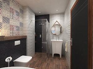Projekt PATCJWORK - Średnia biała czarna kolorowa łazienka w bloku bez okna, styl rustykalny - zdjęcie od Inside Outside Design