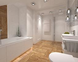 Łazienka na poddaszu - Duża biała łazienka w domu jednorodzinnym z oknem bez okna, styl vintage - zdjęcie od Inside Outside Design