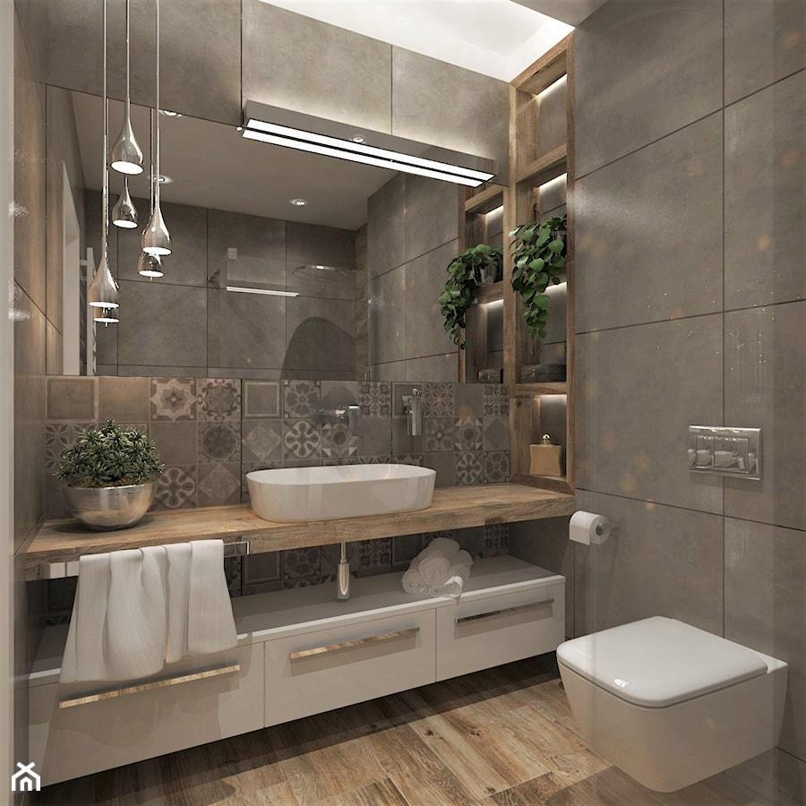 Mieszkanie Dla Młodych :) - Średnia szara łazienka bez okna, styl nowoczesny - zdjęcie od Inside Outside Design