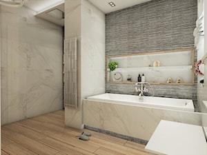 Warszawski sen.. - Duża szara łazienka w domu jednorodzinnym jako salon kąpielowy z oknem, styl klasyczny - zdjęcie od Inside Outside Design