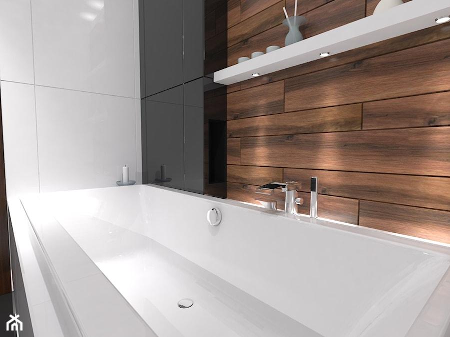 łazienka Biel Czerń Drewno średnia Biała Czarna Brązowa