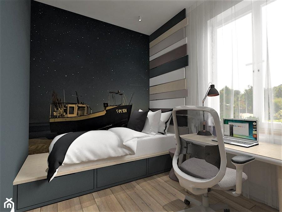 Warszawa, projekt modernizacji mieszkania w kamienicy - Mały biały czarny pokój dziecka dla chłopca dla ucznia dla nastolatka, styl nowoczesny - zdjęcie od Inside Outside Design
