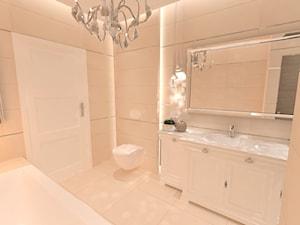Elegancka łazienka z sauną - Średnia biała łazienka na poddaszu w bloku w domu jednorodzinnym bez okna, styl tradycyjny - zdjęcie od Inside Outside Design