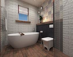 Projekt PATCJWORK - Średnia beżowa czarna kolorowa łazienka w domu jednorodzinnym z oknem, styl rustykalny - zdjęcie od Inside Outside Design