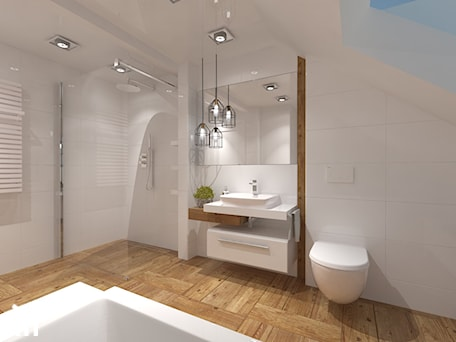 Aranżacje wnętrz - Łazienka: Łazienka na poddaszu - Średnia biała łazienka na poddaszu w domu jednorodzinnym z oknem, styl kolonialny - Inside Outside Design. Przeglądaj, dodawaj i zapisuj najlepsze zdjęcia, pomysły i inspiracje designerskie. W bazie mamy już prawie milion fotografii!