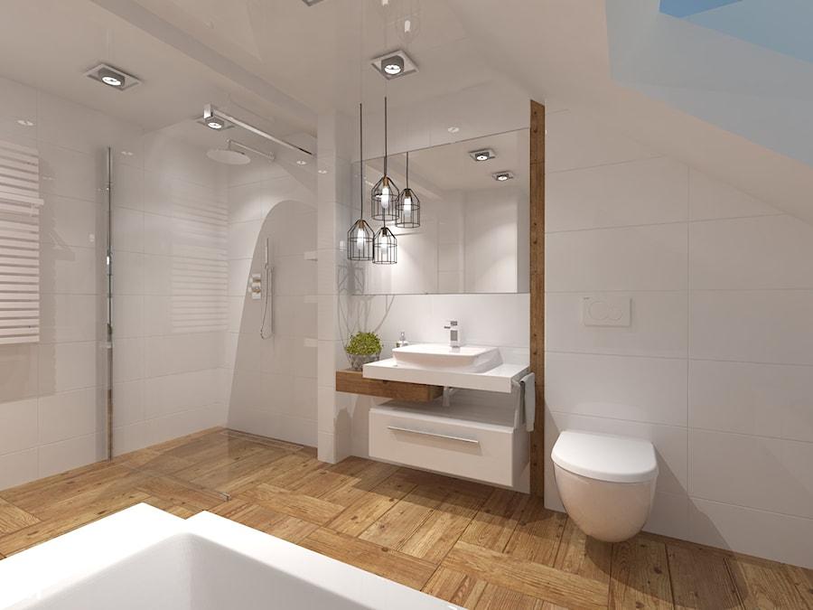 Łazienka na poddaszu - Średnia biała łazienka na poddaszu w domu jednorodzinnym z oknem, styl kolonialny - zdjęcie od Inside Outside Design
