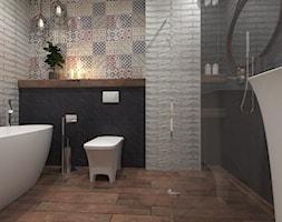 Projekt PATCJWORK - Średnia biała czarna łazienka w bloku bez okna, styl rustykalny - zdjęcie od Inside Outside Design