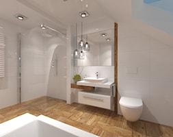 Łazienka na poddaszu - Duża biała łazienka na poddaszu w domu jednorodzinnym z oknem, styl kolonialny - zdjęcie od Inside Outside Design