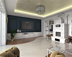 Warszawski sen.. - Średni biały czarny salon, styl glamour - zdjęcie od Inside Outside Design