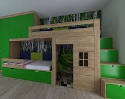 Leśny pokój dwóch dziewczynek - Średni biały zielony pokój dziecka dla chłopca dla dziewczynki dla rodzeństwa dla malucha, styl nowoczesny - zdjęcie od IM WNĘTRZA   Projektowanie wnętrz