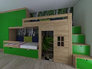 Leśny pokój dwóch dziewczynek - Średni biały zielony pokój dziecka dla chłopca dla dziewczynki dla rodzeństwa dla malucha, styl nowoczesny - zdjęcie od IM WNĘTRZA | Projektowanie wnętrz