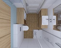 Projekt małej łazienki - Mała biała łazienka w bloku w domu jednorodzinnym bez okna, styl nowoczesny - zdjęcie od IM WNĘTRZA | Projektowanie wnętrz