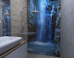 Łazienka z grafiką - Mała łazienka w bloku w domu jednorodzinnym bez okna, styl nowoczesny - zdjęcie od IM WNĘTRZA | Projektowanie wnętrz