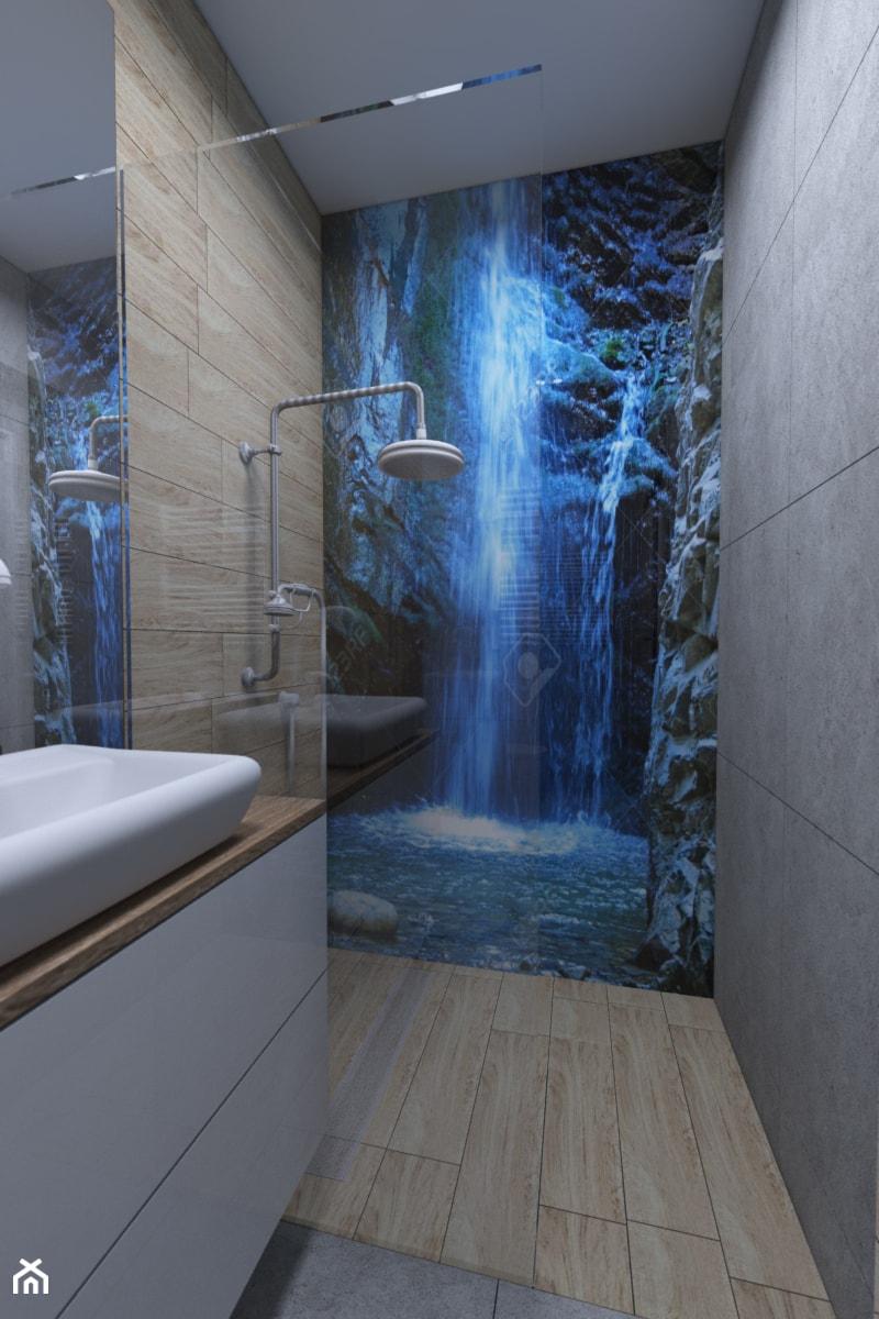 Aranżacje wnętrz - Łazienka: Łazienka z grafiką - Mała łazienka w bloku w domu jednorodzinnym bez okna, styl nowoczesny - IM WNĘTRZA | Projektowanie wnętrz. Przeglądaj, dodawaj i zapisuj najlepsze zdjęcia, pomysły i inspiracje designerskie. W bazie mamy już prawie milion fotografii!