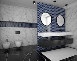 Projekt pokoju kąpielowego - Duża niebieska szara łazienka, styl nowoczesny - zdjęcie od IM WNĘTRZA | Projektowanie wnętrz