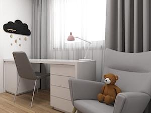 Projekt małego pokoju dla dziewczynki - Mały biały pokój dziecka dla dziewczynki dla ucznia dla malucha dla nastolatka, styl nowoczesny - zdjęcie od IM WNĘTRZA | Projektowanie wnętrz