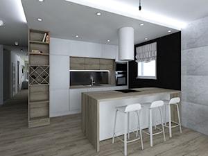 Projekt niedużego mieszkania - Średnia czarna kuchnia dwurzędowa w aneksie z wyspą z oknem, styl skandynawski - zdjęcie od IM WNĘTRZA | Projektowanie wnętrz