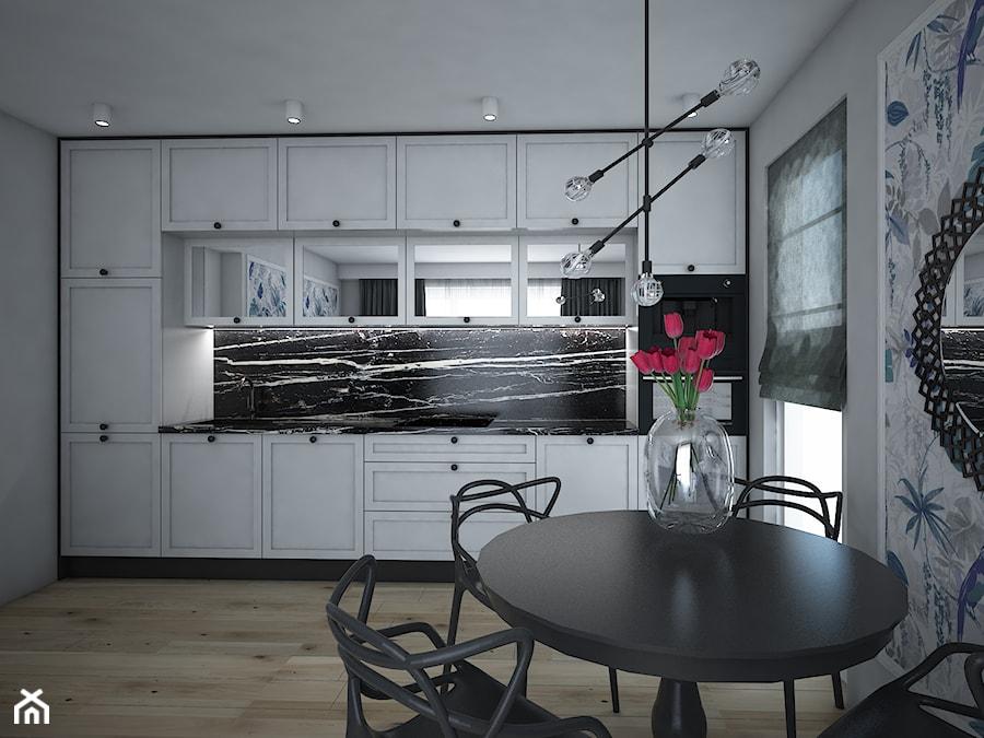 SALON Z ANEKSEM W STYLU GLAMOUR - Średnia zamknięta szara czarna kuchnia jednorzędowa z oknem, styl glamour - zdjęcie od IM WNĘTRZA | Projektowanie wnętrz