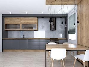 Kuchnia w szarościach i drewnie - Średnia biała czarna kuchnia jednorzędowa, styl nowoczesny - zdjęcie od IM WNĘTRZA | Projektowanie wnętrz