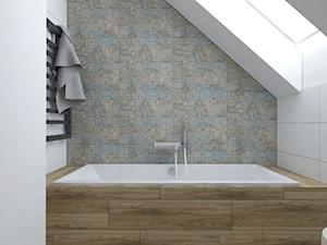 Projekt łazienki na poddaszu - Mała biała łazienka na poddaszu w domu jednorodzinnym z oknem, styl nowoczesny - zdjęcie od IM WNĘTRZA   Projektowanie wnętrz