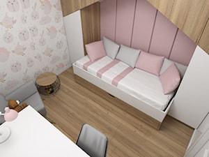 Projekt małego pokoju dla dziewczynki - Mały biały pastelowy różowy pokój dziecka dla dziewczynki dla ucznia dla nastolatka, styl nowoczesny - zdjęcie od IM WNĘTRZA | Projektowanie wnętrz