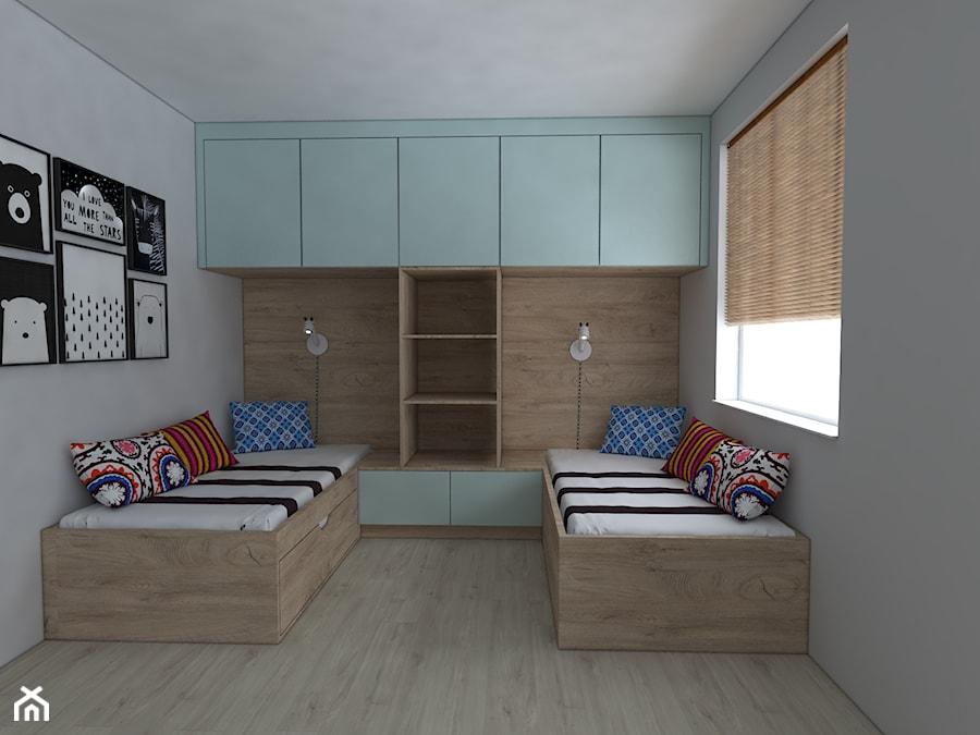 Mieszkanie w stylu skandynawskim - Średni szary pokój dziecka dla rodzeństwa dla nastolatka, styl skandynawski - zdjęcie od IM WNĘTRZA | Projektowanie wnętrz