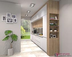 Wizualizacje projektowe kuchni - Średnia otwarta szara kuchnia jednorzędowa z oknem, styl nowoczesn ... - zdjęcie od Art.studio - Homebook