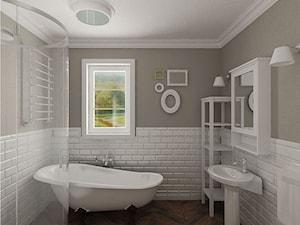 łazienka i białe cegiełki - zdjęcie od Archomega Biuro Architektoniczne