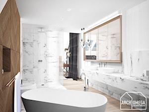 styl fusion sypialni i łazienka - zdjęcie od Archomega Biuro Architektoniczne