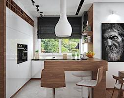 Średnia otwarta biała kuchnia w kształcie litery g w aneksie z oknem, styl skandynawski - zdjęcie od iProjektowanieWnętrz - Homebook