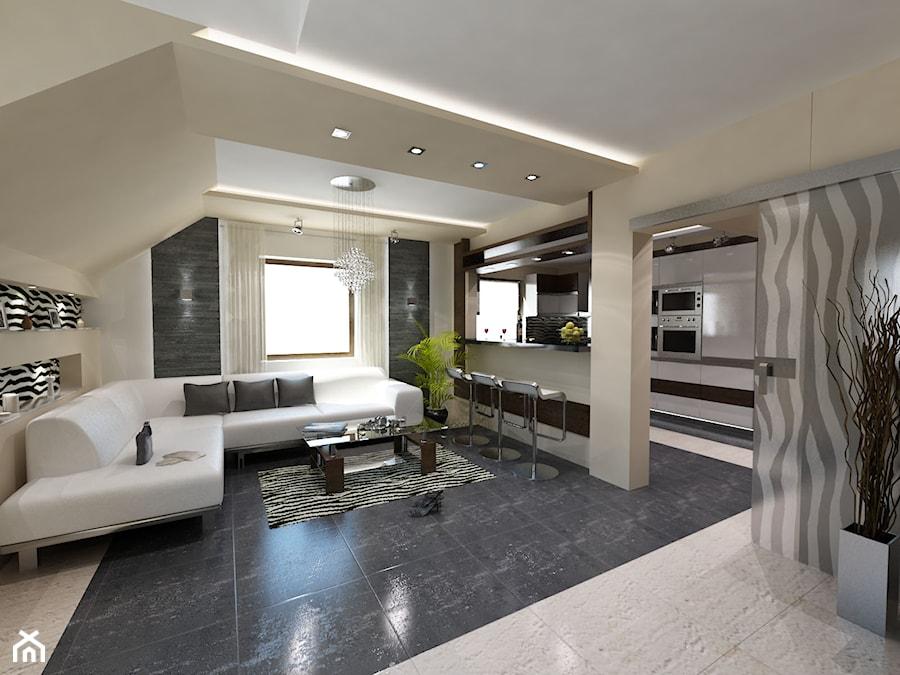 Salon z kuchnia w mieszkaniu  zdjęcie od iProjektowanieWnętrz -> Kuchnia A Salon