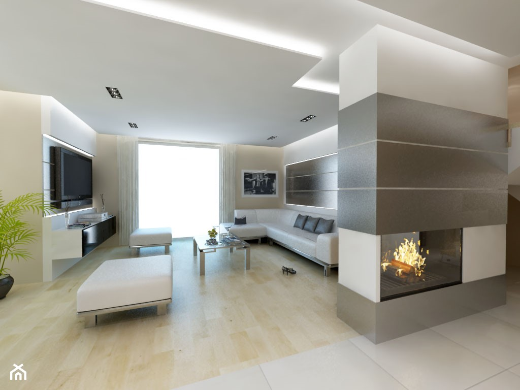 Duży biały beżowy salon, styl minimalistyczny - zdjęcie od iProjektowanieWnętrz - Homebook