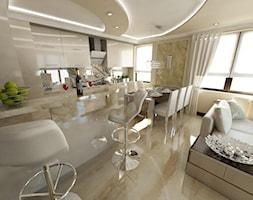 Duża otwarta beżowa kuchnia, styl glamour - zdjęcie od iProjektowanieWnętrz