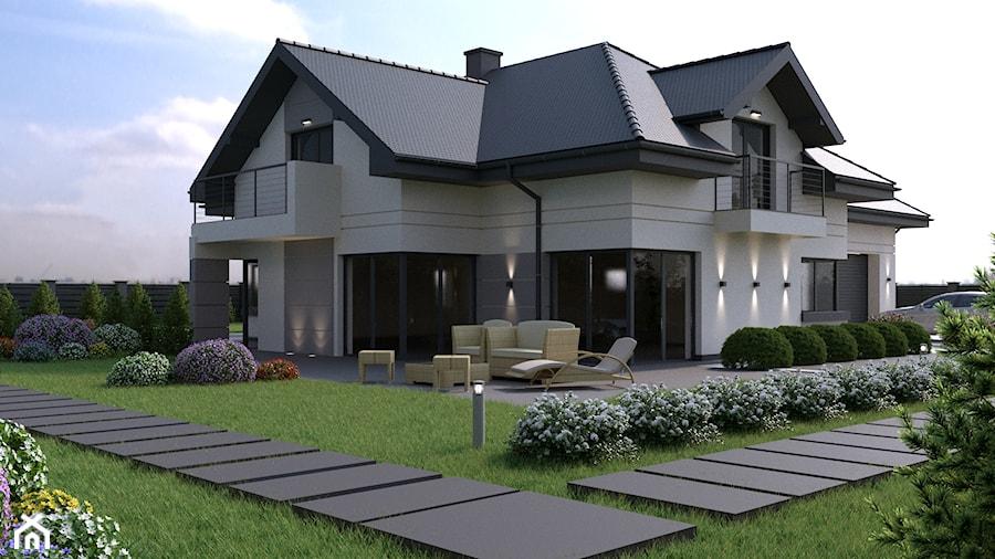 Jednopiętrowe nowoczesne domy willowe jednorodzinne murowane z czterospadowym dachem - zdjęcie od iProjektowanieWnętrz
