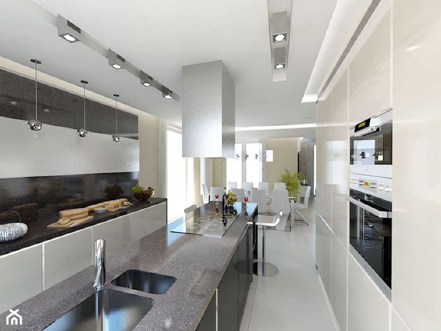 Aranżacje wnętrz - Kuchnia: Duża otwarta biała czarna kuchnia dwurzędowa z wyspą, styl minimalistyczny - iProjektowanieWnętrz. Przeglądaj, dodawaj i zapisuj najlepsze zdjęcia, pomysły i inspiracje designerskie. W bazie mamy już prawie milion fotografii!