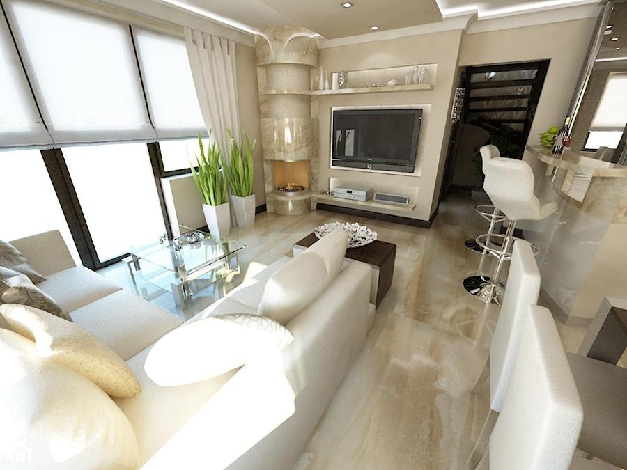 Duży beżowy salon z kuchnią z jadalnią, styl glamour - zdjęcie od iProjektowanieWnętrz