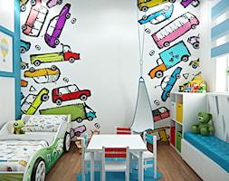 Średni biały niebieski pokój dziecka dla chłopca dla dziewczynki dla ucznia dla malucha - zdjęcie od iProjektowanieWnętrz - Homebook