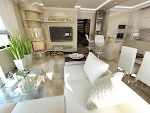 Średni beżowy salon z kuchnią z jadalnią, styl glamour - zdjęcie od iProjektowanieWnętrz