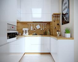 Mała zamknięta biała beżowa kuchnia w kształcie litery u w aneksie z oknem - zdjęcie od iProjektowanieWnętrz - Homebook