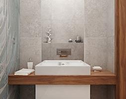 Mała szara łazienka na poddaszu w bloku w domu jednorodzinnym bez okna, styl skandynawski - zdjęcie od iProjektowanieWnętrz - Homebook