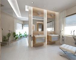 Średnia szara łazienka na poddaszu w bloku w domu jednorodzinnym z oknem, styl klasyczny - zdjęcie od iProjektowanieWnętrz