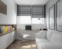 Małe białe biuro pracownia domowe kącik do pracy w pokoju - zdjęcie od iProjektowanieWnętrz