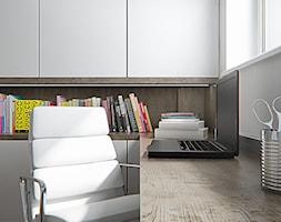 Małe białe biuro pracownia kącik do pracy - zdjęcie od iProjektowanieWnętrz