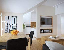 Średnia otwarta beżowa jadalnia w salonie - zdjęcie od iProjektowanieWnętrz - Homebook