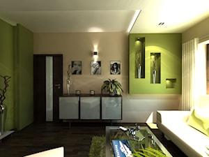 Średnie beżowe zielone biuro domowe w pokoju, styl art deco - zdjęcie od iProjektowanieWnętrz