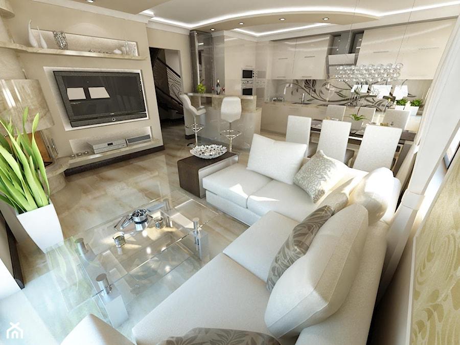 Du y salon z kuchni z jadalni styl glamour zdj cie od for Kuchnia polaczona z salonem