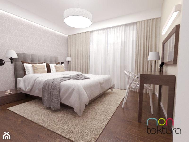 Dom jednorodzinny, 110m2 - Średnia biała szara sypialnia małżeńska, styl tradycyjny - zdjęcie od MONOTEKTURA